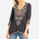 Half sleeves Floral Embroidered Blouse
