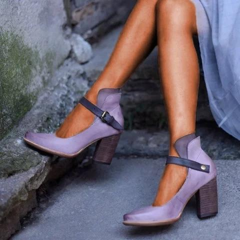 Women Casual Vintage Buckled Shoes Chunky Heel Sandals