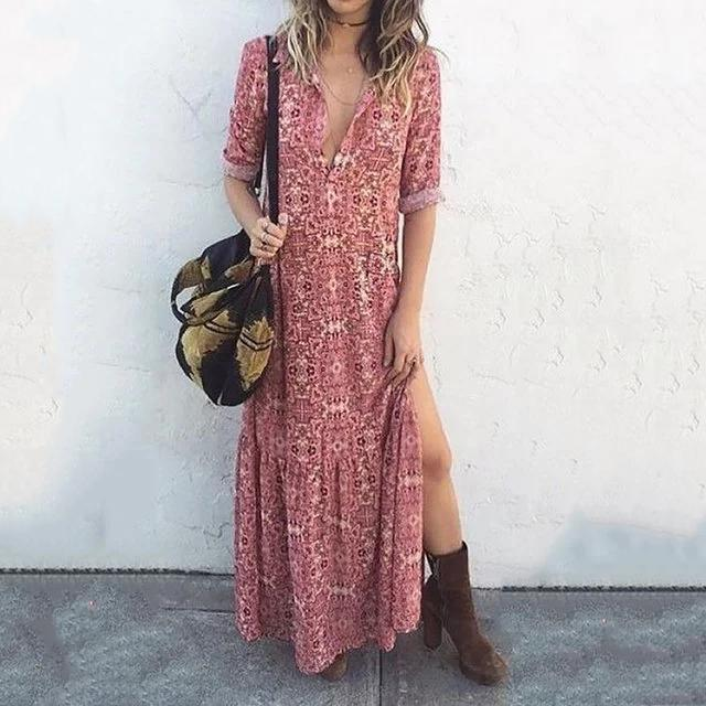 Pink Women Daily Long Sleeve Printed Floral Spring Dress