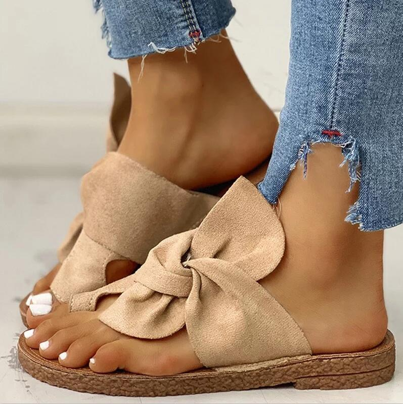Big Bowknot Toe Ring Slippers