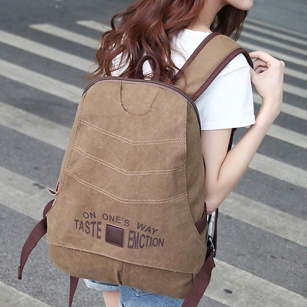 Letter Pattern Rucksack Large-Capacity Canvas Backpack For Men Women