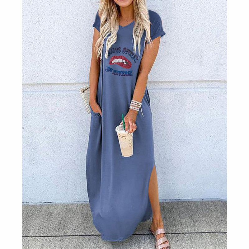 Round Neck Short Sleeves Loose Maxi Dress