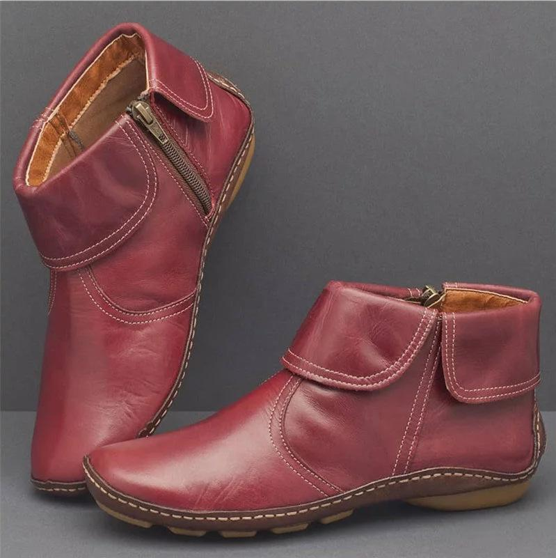 Artificial Leather Side Zipper Boots