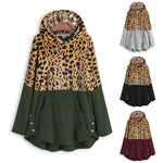 Long-sleeved Leopard Print Patchwork Hoodie