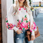 Flower Printed Long Lantern Sleeve Blouses