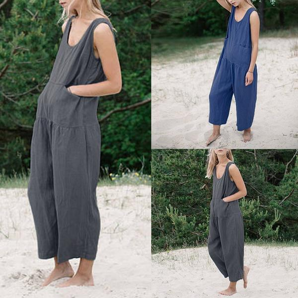 Casual Solid Color Sleeveless Wide Leg Jumpsuits