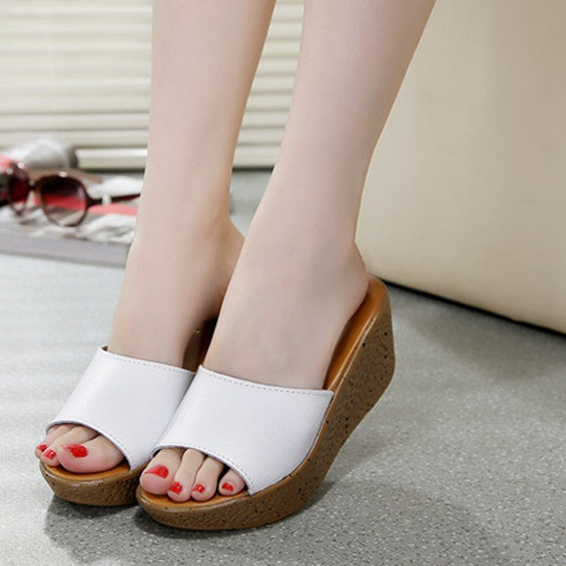 2017 New Women Sandals Summer Leather Slippers Platform Shoes - MagCloset