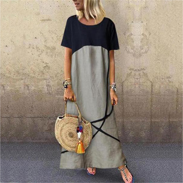 Fashion Crew Neck Short Sleeve Maxi Dresses