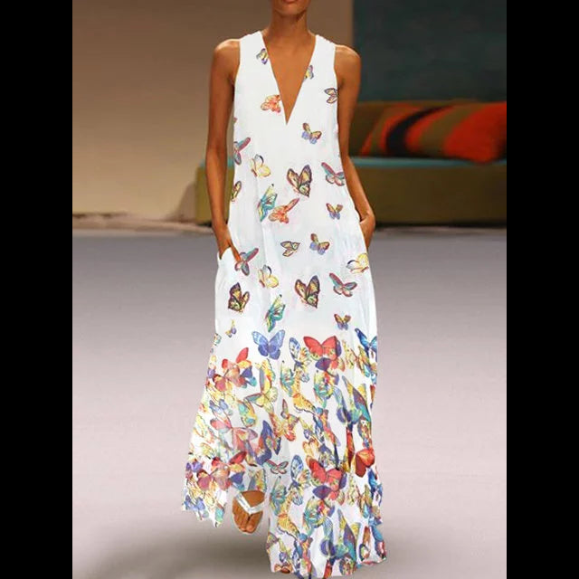 Butterfly Printed Maxi Dresses V Neck Shift Daily Dresses
