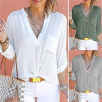 Chiffon V-Neck Long Sleeve Blouses with Pockets