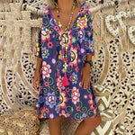 Printed V Neck Half Sleeve Loose Casual Dress