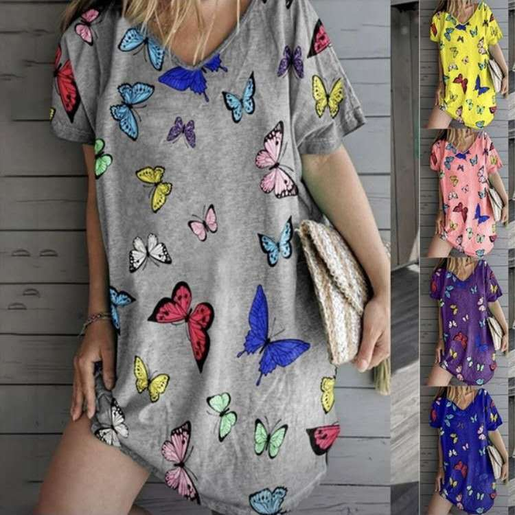 Butterfly Printed Loose V-Neck Dress