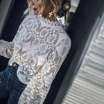 Sexy Lace Solid Color Long Sleeve Blouses