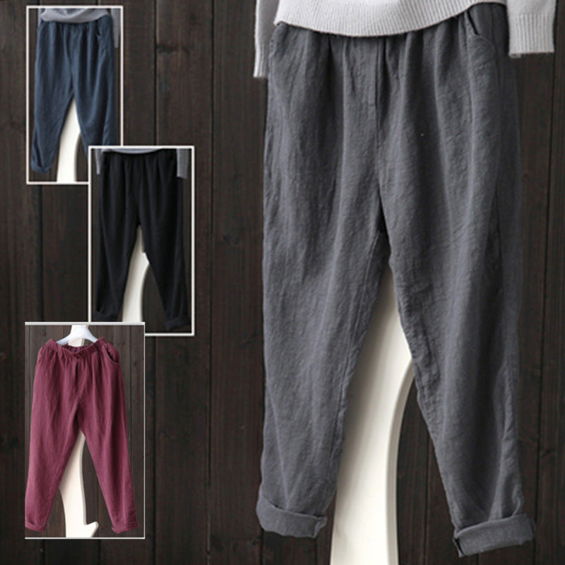 Casual Cotton Linen Elastic Waist Harem Pants