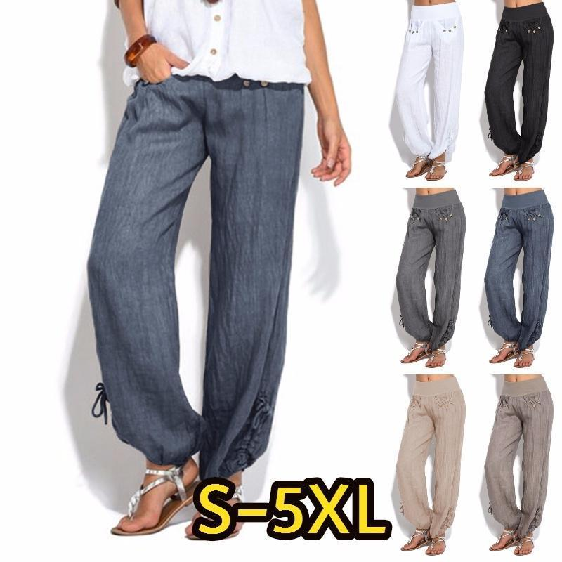 Women Plus Size Fashion Casual Loose Buttons Trousers Solid Color Pants