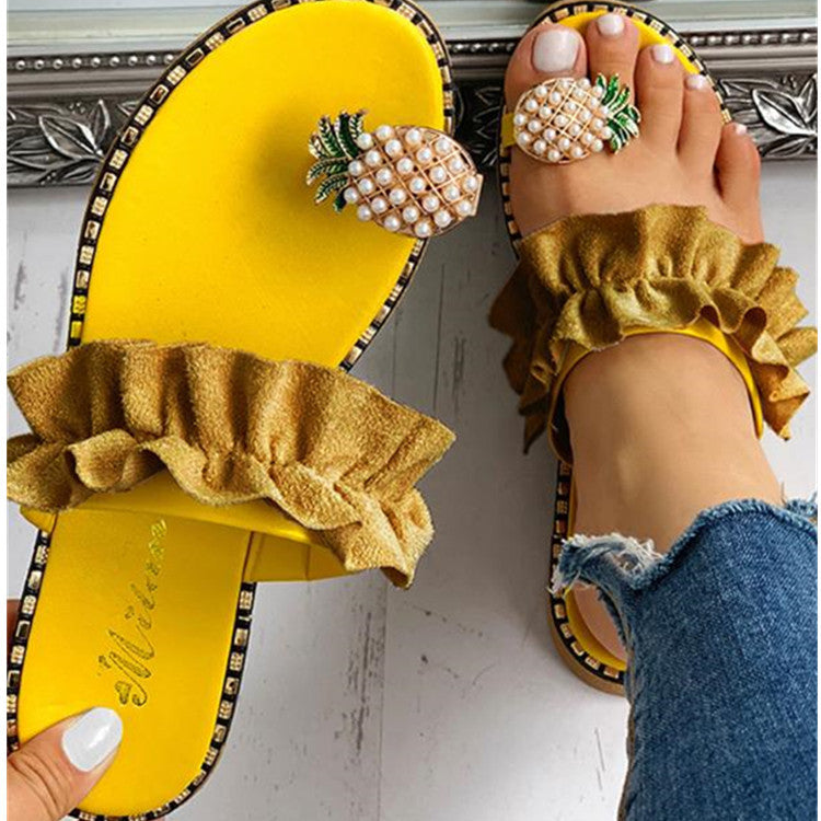 Pineapple Toe Ring Ruffles Slippers