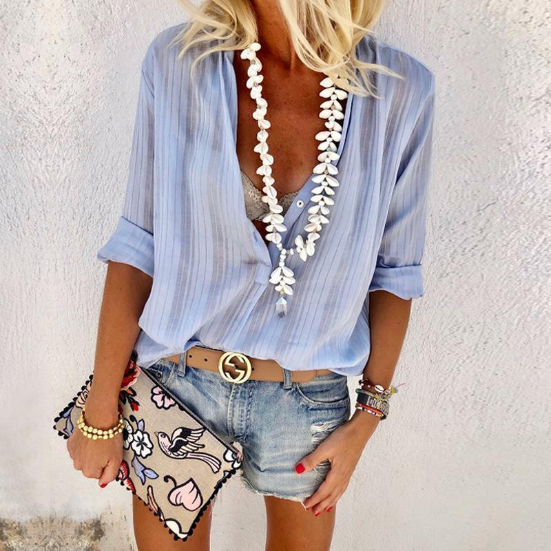 Sexy V-Neck Buttons Long Sleeve Blouses