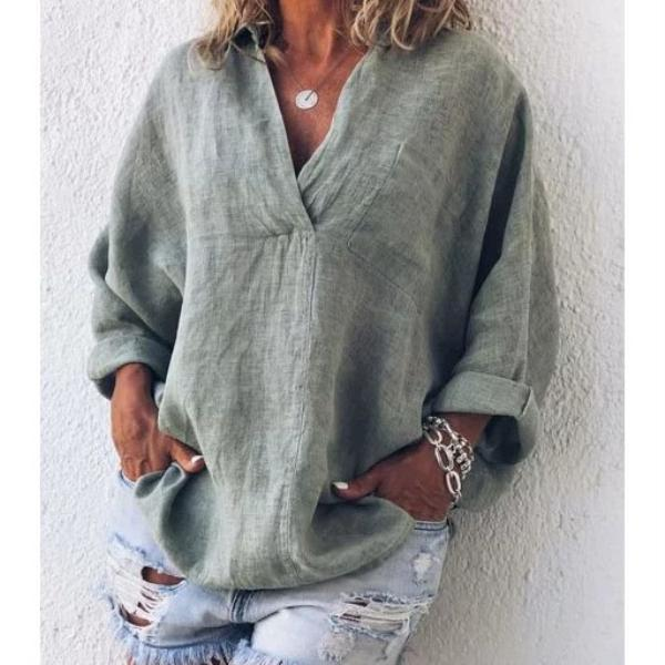 Spring Solid Long Sleeve V Neck Blouses