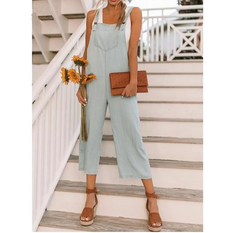 Plus Size V Neck Solid Sleeveless Beach Resort Jumpsuits