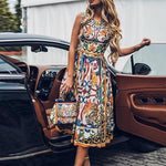 Retro Elegant Sleeveless Printed Dresses