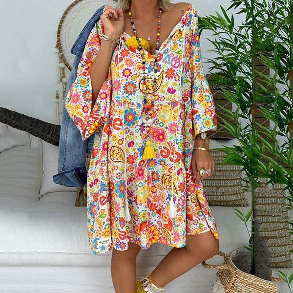 Bohemian Printed V Neck Loose Dress