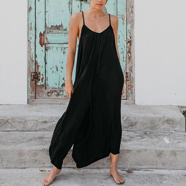 Solid Loose Bohemia Cross-strap Jumpsuits
