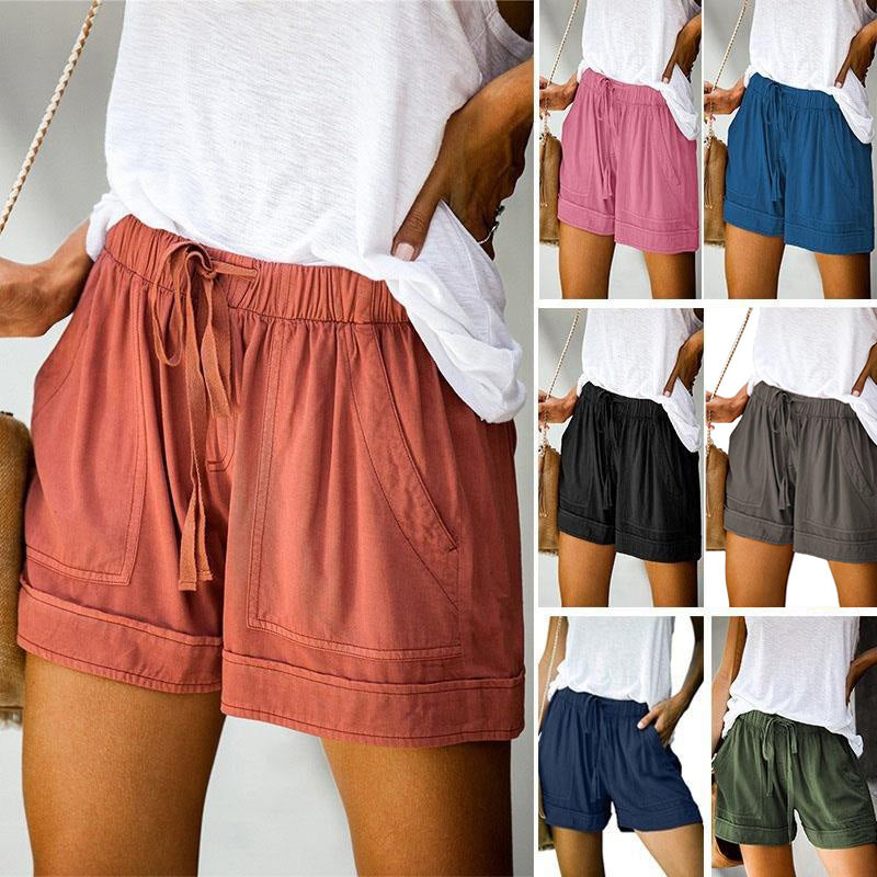 High-waisted Elasticized Belted Shorts