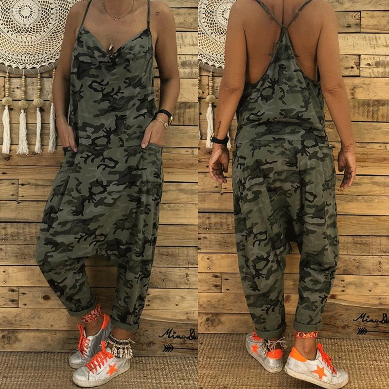 Cotton Slim Printed Wide Leg Jumpsuits