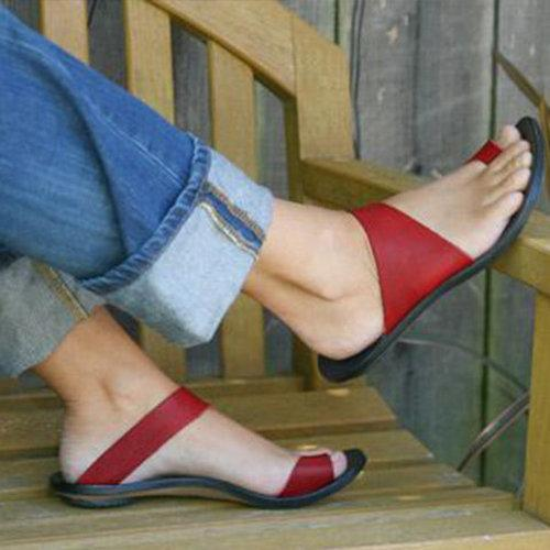 Slip On Open Toe Flat Heel Sandals Slippers