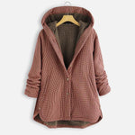 Plaid button solid color hoodie coat