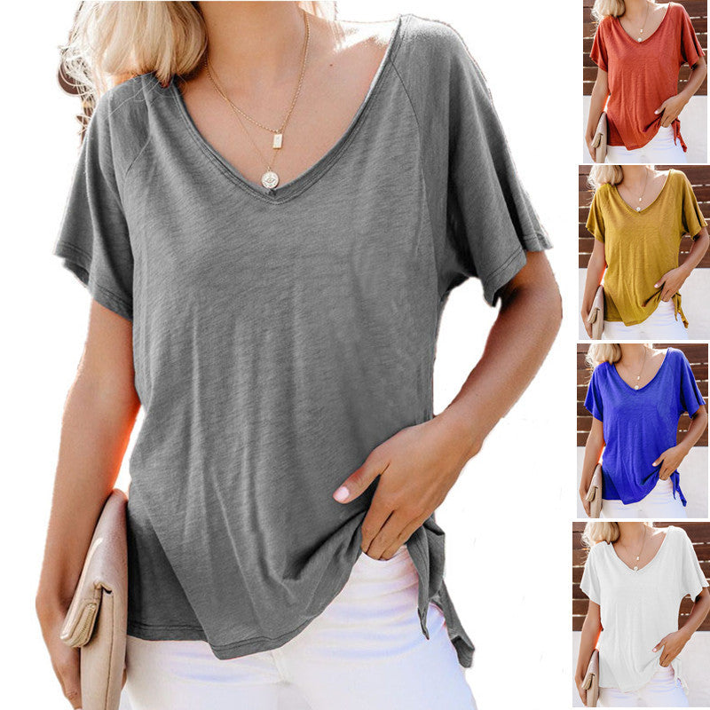 Summer Solid V Neck Patch Pocket Short Sleeve T-shirts