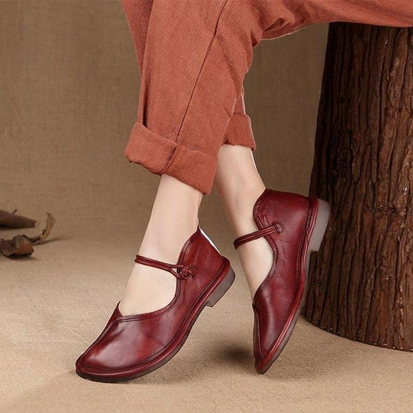 Women Casual Handmade Charlie Brown Flat Heel Shoes