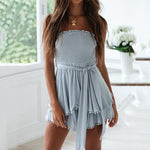 Sexy Solid Color Tube Top Tassel Dresses