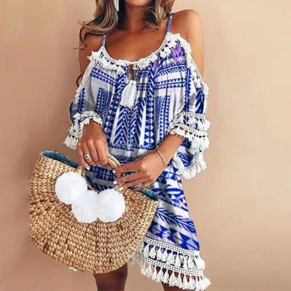 Vintage Sling Off-Shoulder Printed Colour Mini Dresses