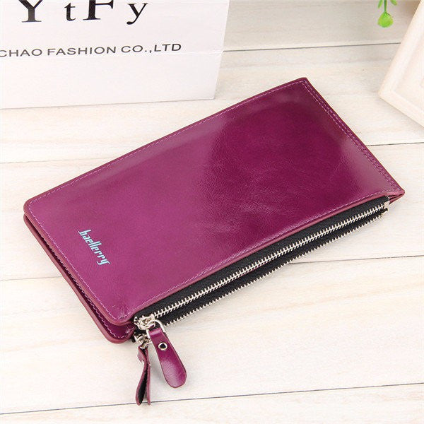 CLEARANCE-Universal Ultrathin PU Leather Vertic Long Wallet Purse 15 Card Slots Multi-Slots Phone Bags