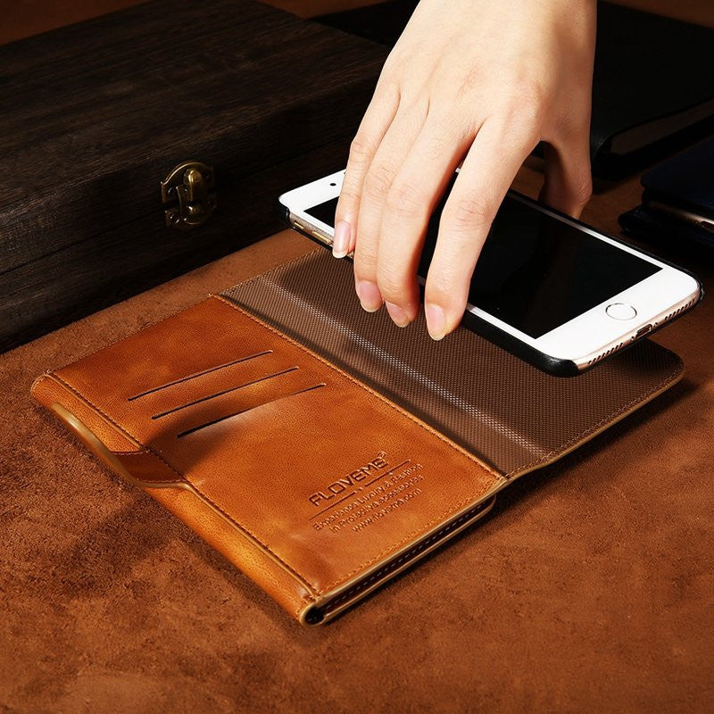 CLEARANCE-For iPhone7Plus 5.5 Inch Magnetic Detachable Phone Case Vintage Leather Wallet Case - MagCloset