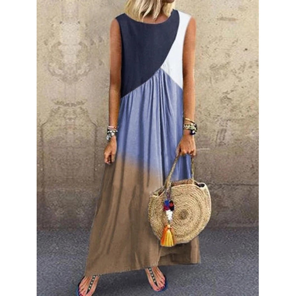 Women Sleeveless Round Neck Vintage Color-block Dress