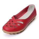 Hollow Out Leather Breathable Casual Slip On Moccasin For Women Ballet Flat Shoes - MagCloset