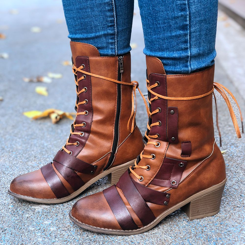 Chunky Heel Lacing Side Zipper Lady's Leather Martin Boot