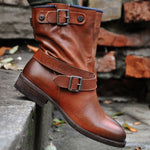 Belt Buckle Motorcycle Low Heel Boots