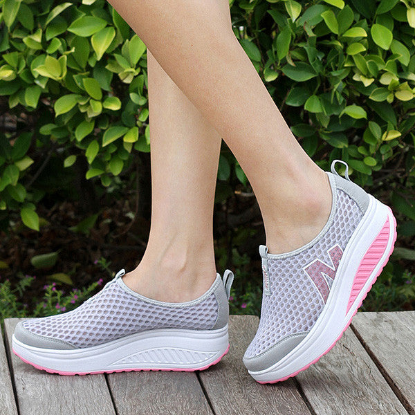 Platform Casual Sport Mesh Breathable Shake Rocker Bottom Shoes