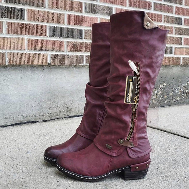 Casual Chunky Heel Plus-Size Fashion Boots