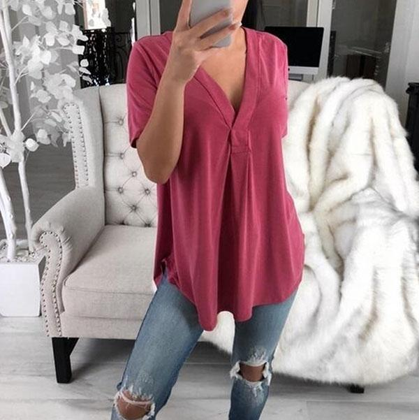 Solid Color Irregular Short Sleeve Loose Blouse
