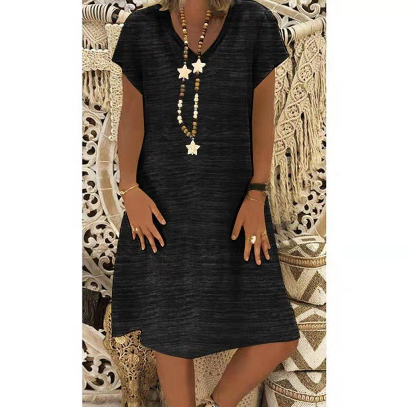 Casual V-Neck Plain Loose Shift Dress