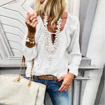 Lace Up V Neck Long Sleeve Blouses