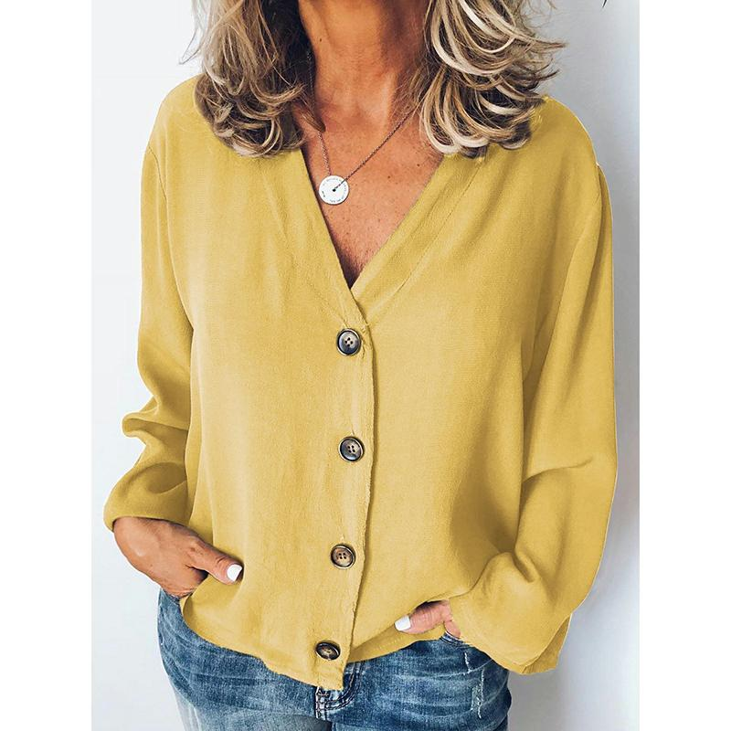 Casual Buttoned Solid Long Sleeve Blouses