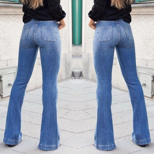 Fashion High Waist Flares Wide Leg Denim Jeans