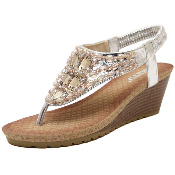 Bohemia Crystal Glitter Leather Wedge Sandals - MagCloset