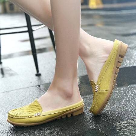 New Women Casual Fashion Breathable Round Toe Slip-On Leather Flat Sandals Shoes