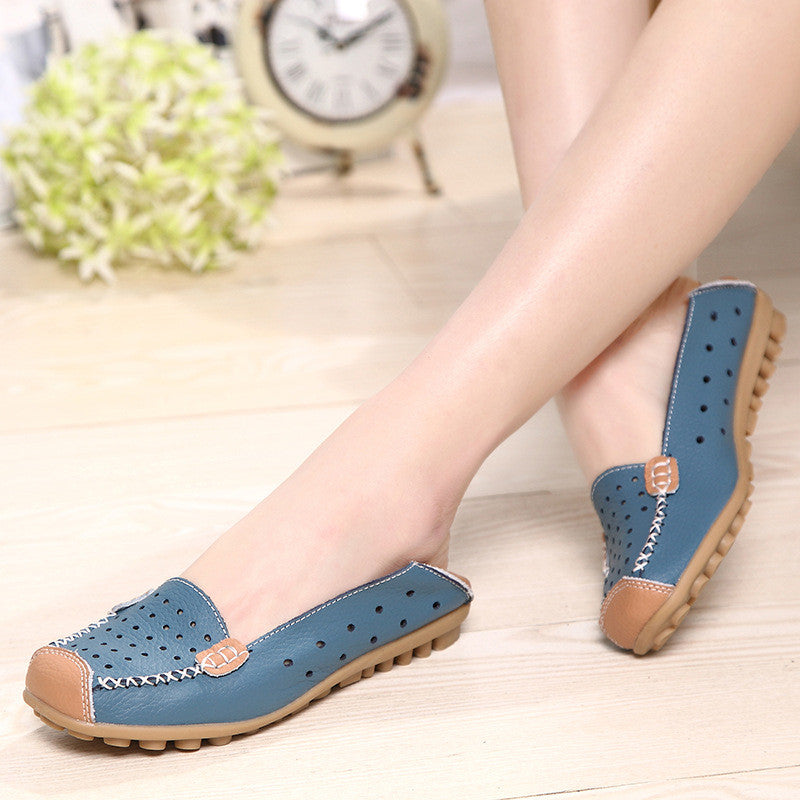 Hollow Out Breathable Color Match Casual Slip On Flat Shoes - MagCloset